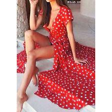 UK Women Long Chiffon Evening Formal Party Ball Gown Prom Bridesmaid Beach Dress Red XXL