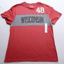 New University of Wisconsin Vintage Retro Style Badgers Mens T-Shirt Sz Xxl