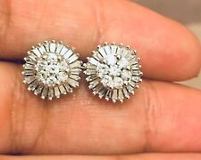 Huge Designer 9ct White Gold Halo Square Diamond Earrings 2ct Studs Flawless