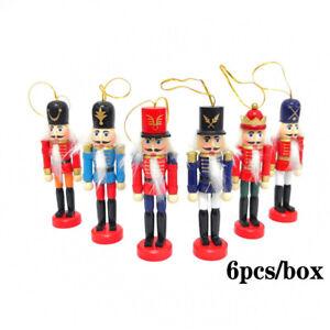 6 Pcs/Set Vintage Nutcracker Doll Soldier Wooden Christmas Ornaments Gift Decor