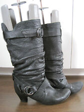 Women's OFFICE black butter soft leather mid calf buckle boots size 5.