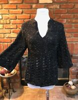 BoHo Hippie S/M CHIC Crocheted Flared wide Sleeve Versatile Layering Sweater Top