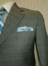 THE RAYMOND SHOP men's silver gray 3 button windowpane suit sz 40R