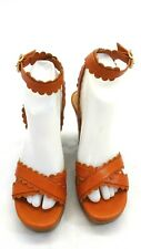 SEE BY CHLOE WOMEN'S BURNT ORANGE STRAPPY WEDGE HEELS SIZE 6 US