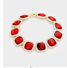 Red Gold Chain Rhinestone Crystal Pageant Evening Formal Bracelet