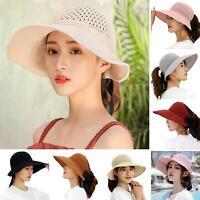 Eg _Mode Femmes Pliage Large Bord Chapeau Paille Creux Visière Casquette avec