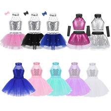 Girls Jazz Sequins Halter Dance Dress Ballet Shiny Tutu Skirt Dancewear Costume