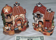 Beautiful Set Peru Clay Pottery Family Animals Welcome New Born Baby At Home