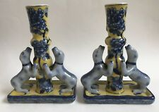Vintage Chinese Pottery Foo Dogs Candlestick Holders With Potter's Mark