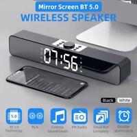 Mirror Screen Bluetooth 5.0 TV Sound Bar Bass AUX Audio Speaker Dual Alarm Clock
