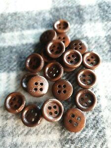 11.5mm small brown rimmed wooden sewing shirt craft knitting buttons 20pcs