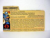 GI JOE COBRA COMMANDER FILE CARD Vintage Action Figure GOOD SHAPE 1983