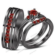 his and her red garnet 925 silver wedding engagement rings bridal ring trio set