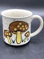 Vintage Stoneware Ceramic Speckled Hand painted Mushroom Cup Mug