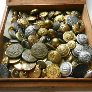 Mix Lot Vintage Military and Other Uniform Buttons in Old Wood Cigar Box