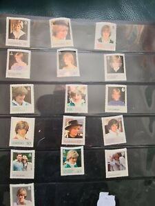 Diana princess of wales stamps x 16