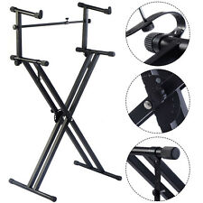 Pro 2-Tier X Style Dual Keyboard Stand Adjustable Electronic Piano Double New