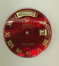 Rolex men's  Day-Date  QS red treated  MOP custom Romans numbers  2-T