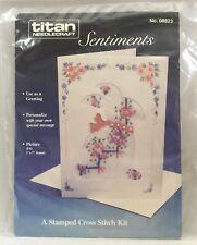 Vntg 1989 Stamped Cross Stitch Kit Greeting Card Bunny Rabbit Easter Titan 2526