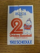1982 Fixture Card: Baseball - Baltimore Orioles (Busch Beer - fold out style). A