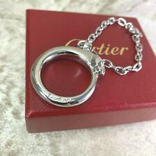 Authentic Cartier Panthere Keychain Ring Charm Metallic Silver w/Case
