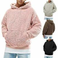 Men Winter Fluffy Hoodie Pullover Fleece Sweatshirt Hooded Coat Sweater Jumpers