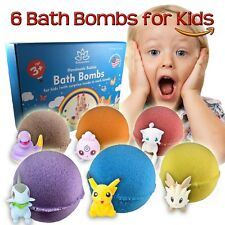 6 Bath Bombs Kit Set for Kids and Teens with POKEMON Mini Toys inside each bomb