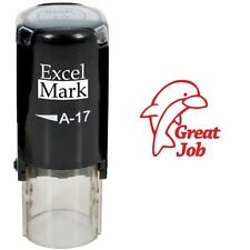NEW ExcelMark GREAT JOB Dolphin Round Self Inking Teacher Stamp A17 | Red Ink
