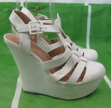 "new ladie White 5.5""High Wedge Heel 1.5""Platform round Toe Sexy Shoes Size 8"