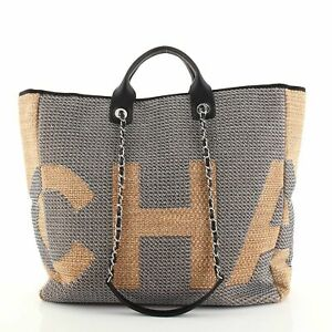 Chanel Deauville Logo Shopping Tote Printed Raffia Large