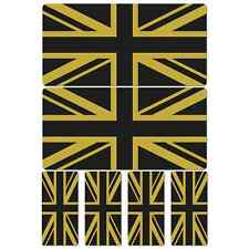 Union Jack Flag Black Gold Laminated Sticker Set Motorcycle Scopoter Vespa