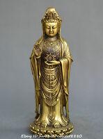 Chinese Tibet Buddhism old bronze Guanyin Kwan-yin Bodhisattva Buddha statue