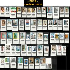 Italia 2018 - Annata completa 58 francobolli con il codice a barre - Nuovi