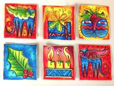 New listing Sale*Set of Six Laurel Burch Holiday Appliques*Handmade*Iron On*79