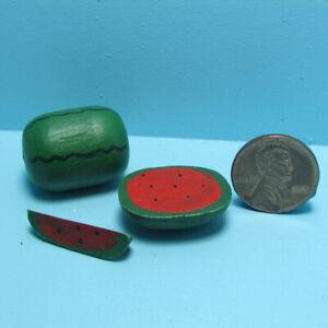 Dollhouse Miniature Watermelon Fruit Set Whole Half and Cut Slice IM65183
