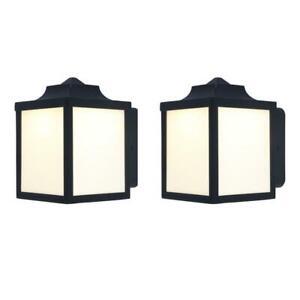 Hampton Bay LED Wall Lantern Light Porch Deck Lanterns, Pack of 2, Black
