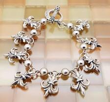 "King Baby Sterling Silver Queen Baby Fleur De Lis Bracelet 7.5"" Dia. 50.7 Grams"