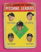 1963 TOPPS # 8 AMERICAN LEAGUE PITCHING LEADERS  FAIR CARD (INV# C3152)