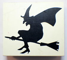 Hallowen Witch Riding Broomstick Silhouette Wooden Rubber Stamp