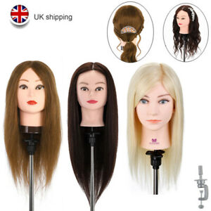 Training Head 14-28'' Real Human Hair Practice Hairdressing Mannequin Doll UK