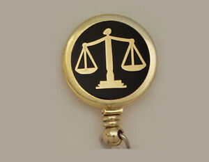 ATTORNEY LEGAL SCALES of JUSTICE Retractable Reel ID Card Badge Holder Key Ring