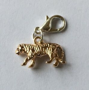 LOVELY ROSE GOLD TIGER  CLIP ON CHARM FOR BRACELETS - 3D - ROSE GOLD PLATE