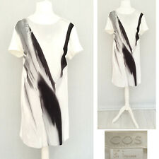 Cos Dress L Ivory 18 Short Sleeve Midi THICK FABRIC Abstract Smart Casual Arty