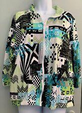 Onque Casuals Women Sz XL Jacket White Lime Green Teal Diamond Studded Zipper