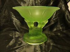 Walther and Sohne art deco frosted uranium glass 'Glasgow' centrepiece 1935
