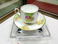 "PHOENIX CHINA ENGLAND PINK & YELLOW DAISY 2 5/8"" CUP & SAUCER SET 1912-1959"