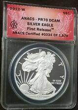 2012-W 1oz Proof PERFECT Silver Eagle ANACS PF70 PR70 DCAM Deep Cameo 1st Strike