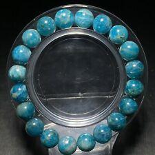9.4mm Natural Gem quality Light Blue Apatite Crystal Round Beads Bracelet