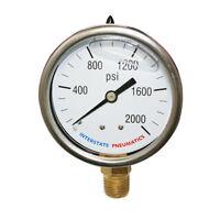 "Oil Filled Pressure Gauge 2000 PSI 2-1/2"" Dial 1/4"" NPT Bottom Mount G7022-2000"