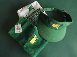 Masters Golf Tournament Lot - New Tri-Fold Towel with New Green Visor Augusta GA